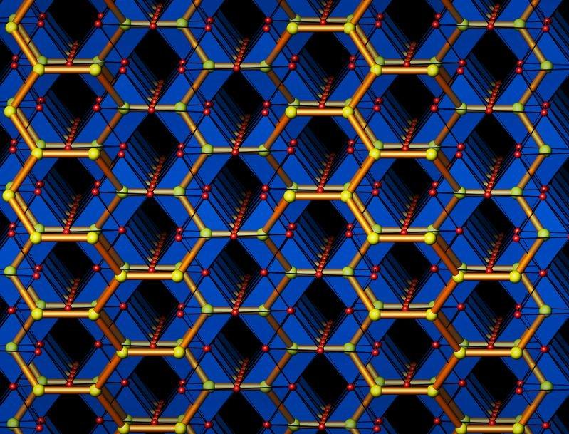 "<p><strong>Abb. 4:</strong> Das komplexe Iridiumoxid <em>β</em>-Li<sub>2</sub>IrO<sub>3</sub> kristallisiert in einer ""hyper-honeycomp"" Struktur, ein"