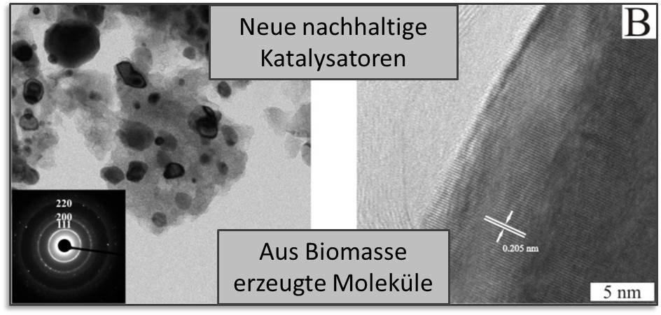 Abb. 3: Design nachhaltiger Katalysatoren für die reduktive Veredelung von Biomasse-Molekülen