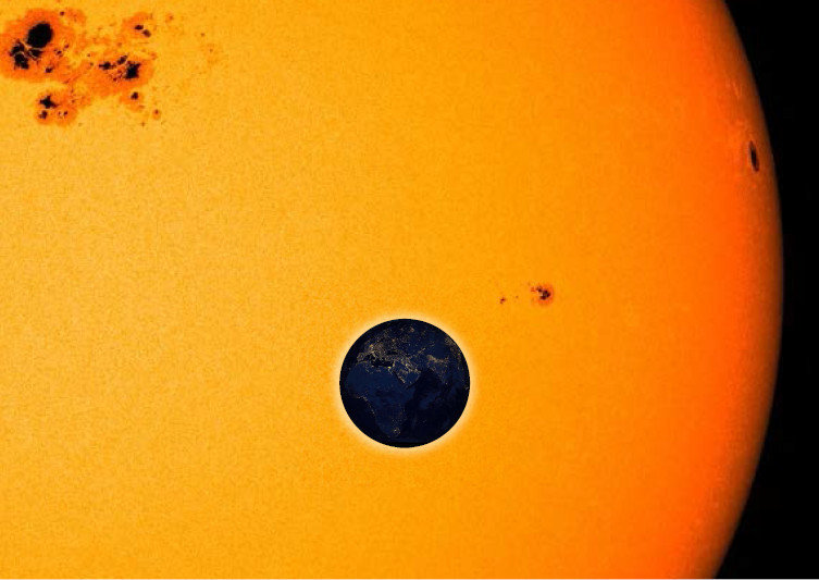Solar eclipse: when the Earth passes in front of the Sun, it blocks a small part of the Sun's light. Potential observers outside our solar system migh