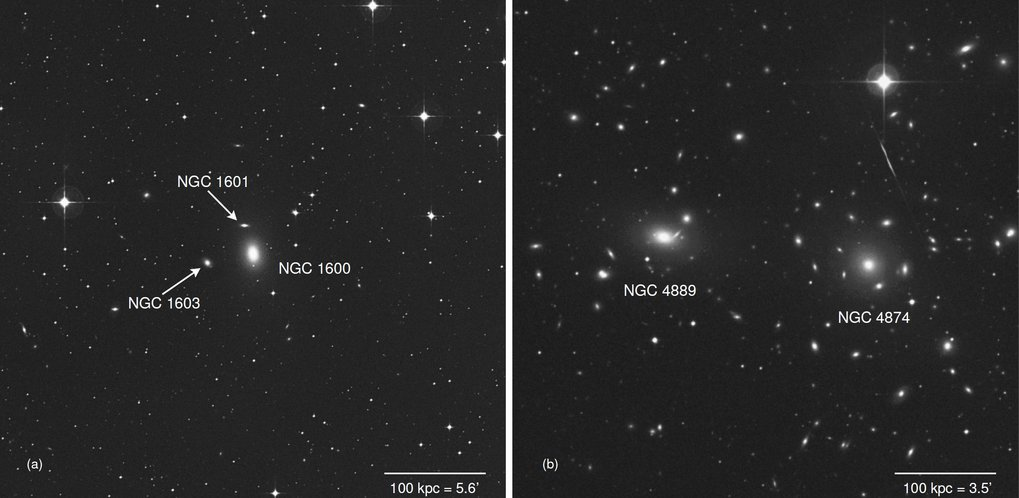 <p>The elliptical galaxy NGC 1600 (left) harbours a very massive black hole with 17 billion times the mass of the Sun. Unlike other galaxies, where ve