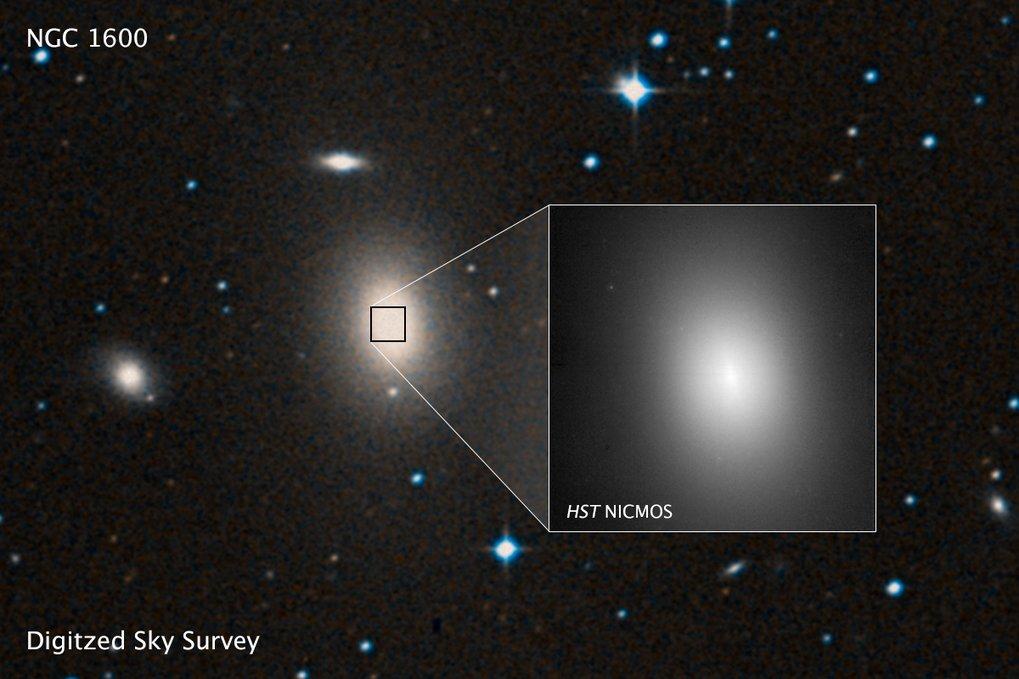 <p>Vergrößerte Ansicht der zentralen Region von NGC1600: Der Kern ist recht diffus, viele Sterne fehlen – wahrscheinlich als Folge einer früheren Gal