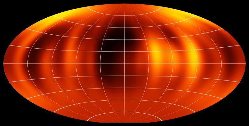 Abb. 2: Projizierte Oberflächenkarte des Braunen Zwergs Luhman 16B.