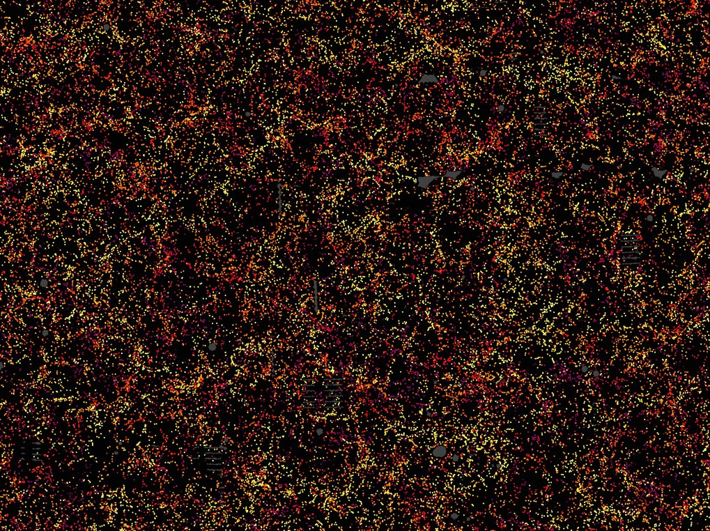 Galaxies galore: This is one slice through the map of the large-scale structure of the Universe from the Sloan Digital Sky Survey and its Baryon Oscil
