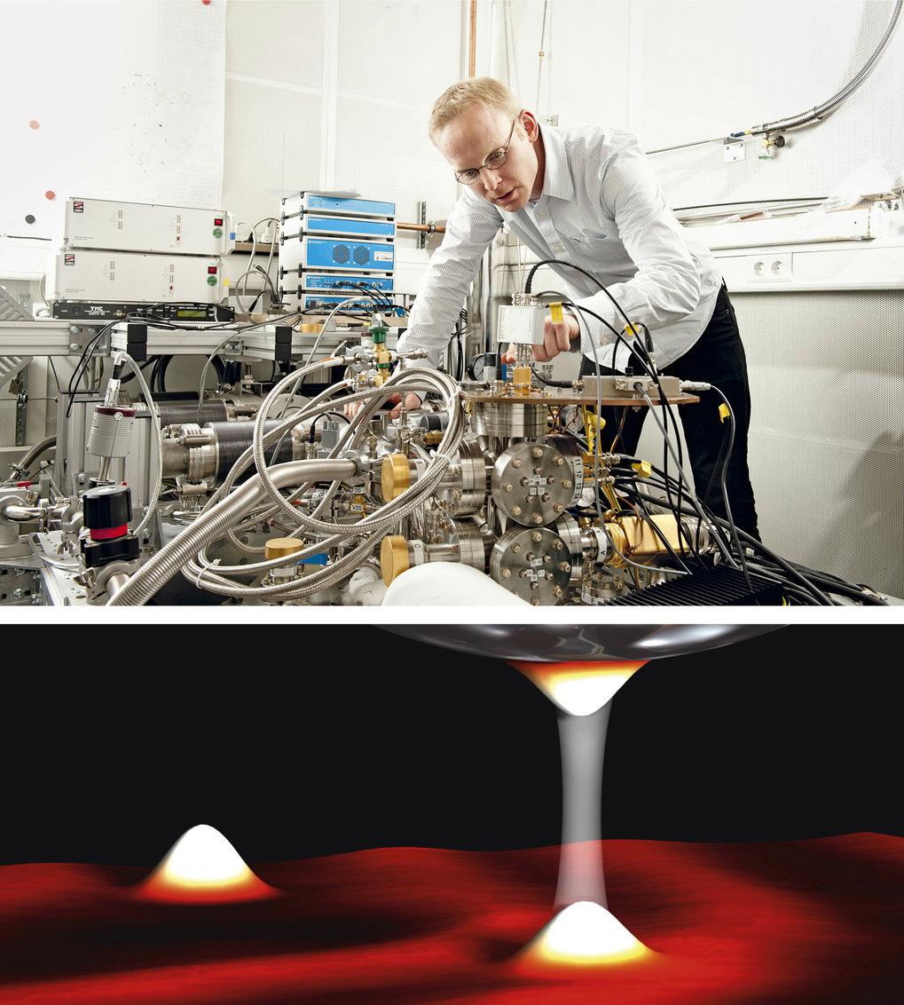 Alles im Blick: Christian Ast prüft die Anschlüsse des Rastertunnelmikroskops (oben). Mit diesem Gerät machen die Forscher aus der Abteilung Nanowisse