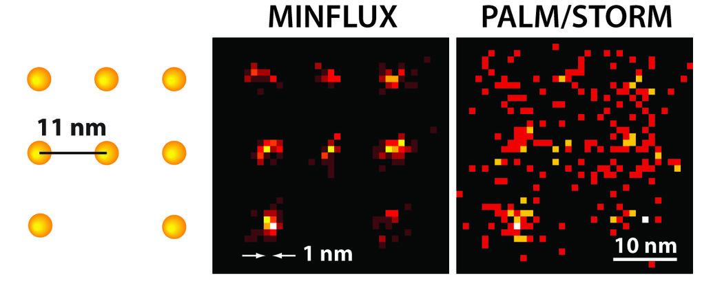 Mit dem MINFLUX-Mikroskop können Wissenschaftler erstmals Moleküle optisch voneinander unterscheiden, die nur wenige Nanometer voneinander entfernt si