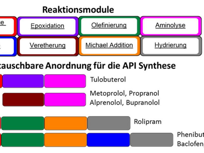 Abb. 4: Darstellung von fünf Strukturgerüsten und zehn pharmazeutischen Wirkstoffen durch unterschiedliche Aneinanderreihung von Reaktionsmodulen