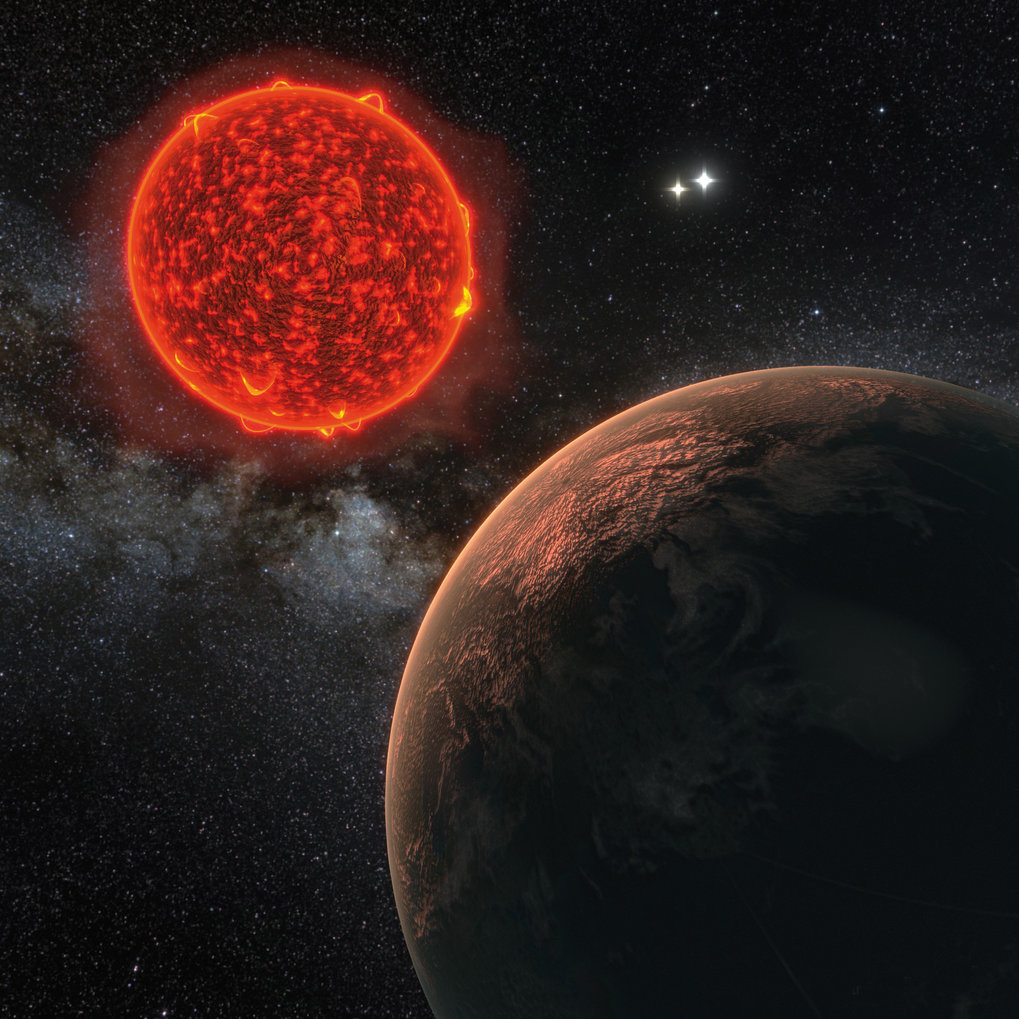 Abb. 1: Künstlerische Darstellung des neu entdeckten Planeten um Proxima Centauri, den der Erde nächsten Stern.