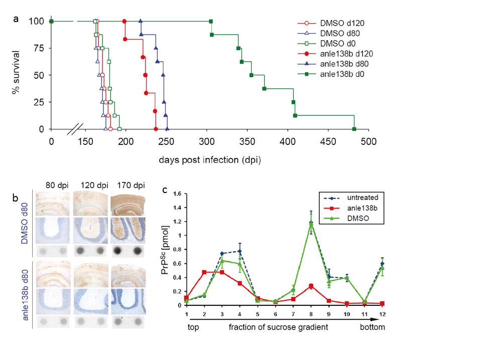 <strong>Abb. 2:</strong> Einfluss von anle138b Verabreichung auf die Lebenszeit und Prionprotein-Ablagerung von Mäusen, die mit dem RML Scrapie Prion