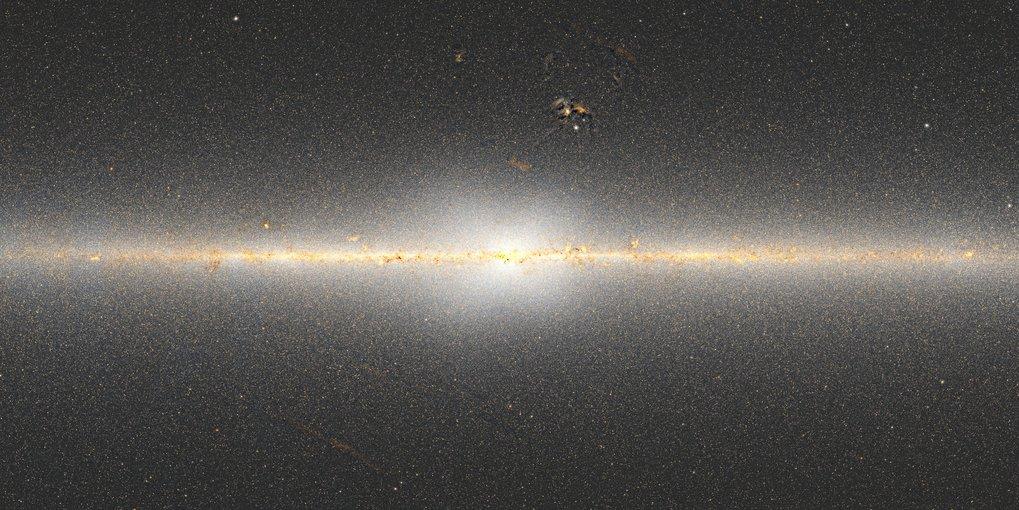 Abb. 2:In dieser Karte der zentralen Regionen der Milchstraße ist die X-förmige Verteilung von Sternen sichtbar. Die Karte wurde von Dustin Lang aus