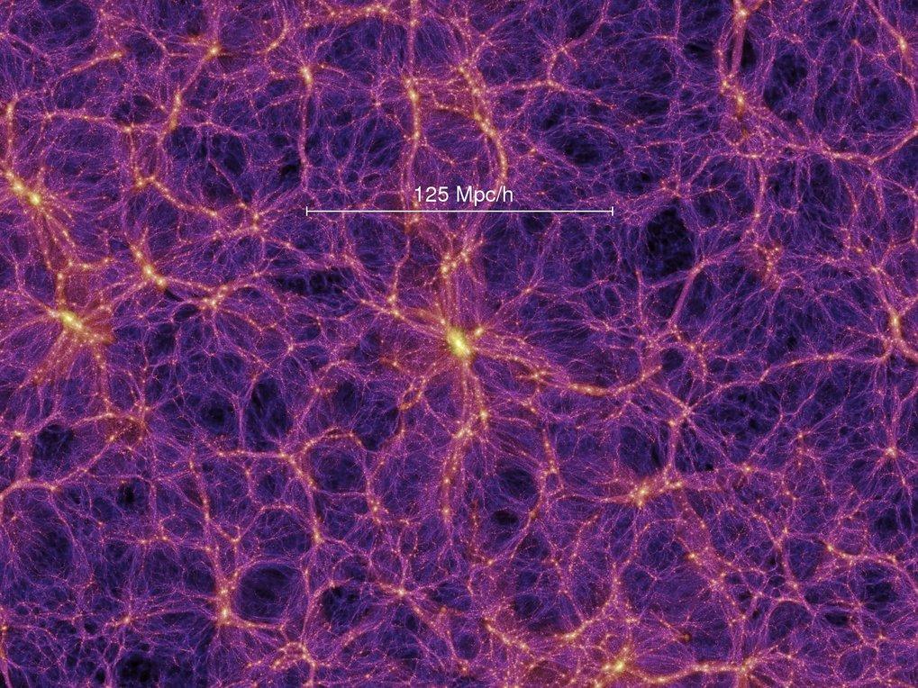 """<strong>Abb. 2:</strong> Dieses Bild zeigt das """"kosmische Netz"""", einen Schnitt mit einer Dicke von 15 Mpc/h durch das Dichtefeld der Millennium-Simula"""