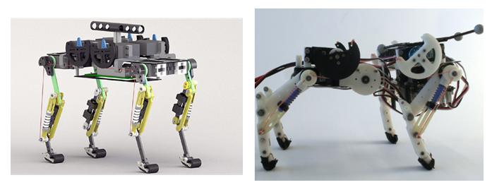 <strong>Abb. 2:</strong> Links: vierbeiniger Cheetah-cub Laufroboter. Dieser, der Hauskatze nachempfundene, 1,1 Kilogramm leichte Roboter nutzt eine g