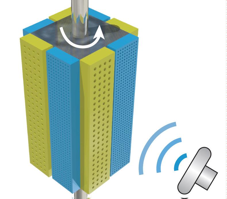 Ultraschallmotor für Miniroboter: Der quaderförmige Motor, den Forscher um Peer Fischer entwickelt haben, ist mit Kammern für Bläschen zweier untersch