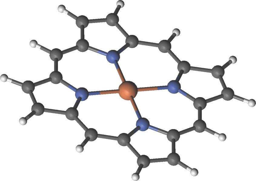 <strong>Abb. 1:</strong> Ein Porphyrin bestehend aus einem Fe-Atom im Zentrum des Moleküls. Die Beschreibung der korrelierten elektronischen Wellenfun