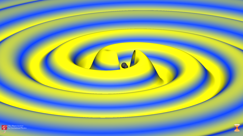 The source of the wave: The image comes from a numerical simulation of the gravitational wave event GW170104, which was generated by the merging of two black holes. The strength of the gravitational wave is indicated by height as well as colour; blue denotes weak, yellow strong fields. The black holes were increased by a factor of two in order to improve visibility.