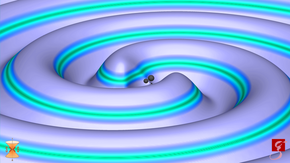 <p>Signal aus dem All: Zwei schwarze Löcher mit 31 und 25 Sonnenmassen verschmelzen und senden dabei Gravitationswellen aus. Die Farben charakterisier