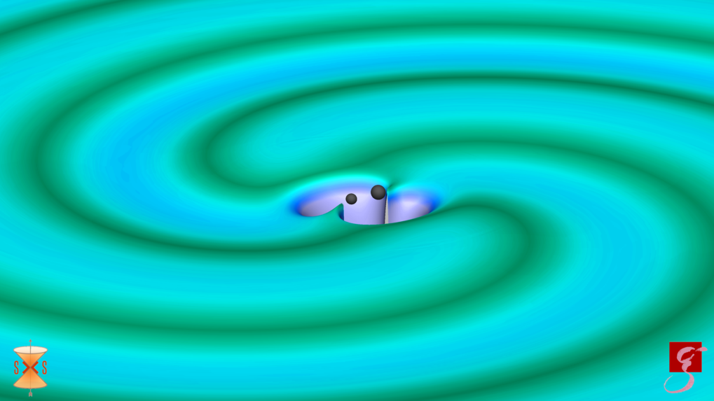 Signal from space: Two black holes with 31 and 25 solar masses merge, thereby emitting gravitational waves. The colours characterize the strength of the field.