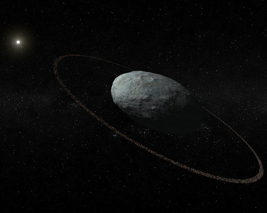 Ringed dwarf: Artistic concept of Haumea and its ring system with correct proportions for the main body and the ring. The ring is located at a distance of 2287 km with respect to the centre of the ellipsoidal main body and it is darker than the surface of Haumea. It was discovered by means of multiple telescopic observations of a stellar occultation in Europe on 21 January 2017.