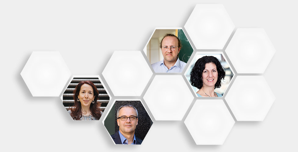 Die erfolgreichen Leibniz-Preisträger 2018 (von links oben nach rechts unten): Bernhard Schölkopf, Erika L. Pearce, Alessandra Buonanno und Jens Becke