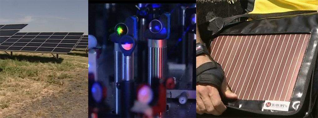 <b>Abb. 1: </b>Konventionelle Solarzellen (links), Forschung (Mitte), mobile Anwendung organischer Solarzellen (rechts).<b></b>