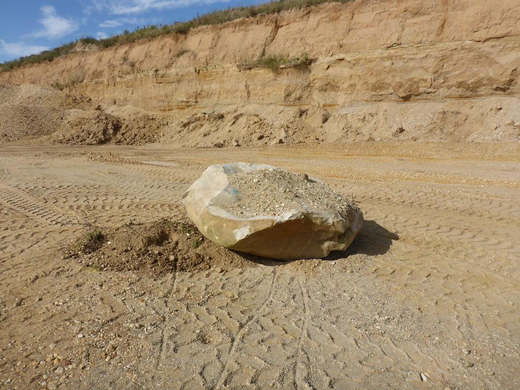 Ein Findling in der Kiesgrube Rehbach in Sachsen, der vor etwa 450.000 Jahren von Gletschern aus Skandinavien dorthin transportiert worden ist.
