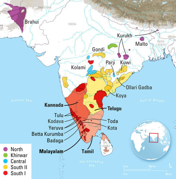 Dravidian language family is approximately 4500 years old max map of the dravidian languages in india pakistan afghanistan and nepal languages present in the dataset used in this paper are indicated by name publicscrutiny Images
