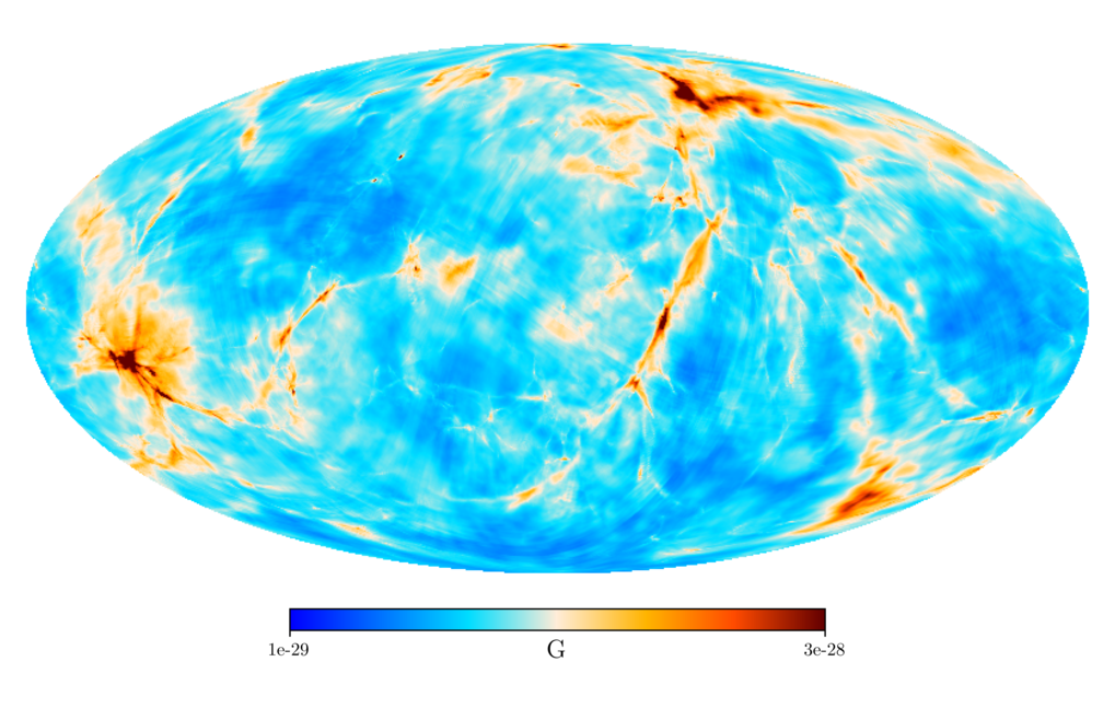 <p>Blick auf das Unsichtbare: Diese Himmelskarte zeigt die Harrison-Magnetfeldstärke, gemittelt über eine Kugel von ungefähr 300 Millionen Lichtjahren
