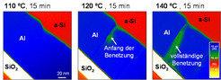 <b>Abb. 2: </b>In-situ<b> </b>Beobachtungen eines Querschliffs einer Al/a-Si-Doppelschicht mittels energiegefilterter Transmissions-Elektronenmikrosko