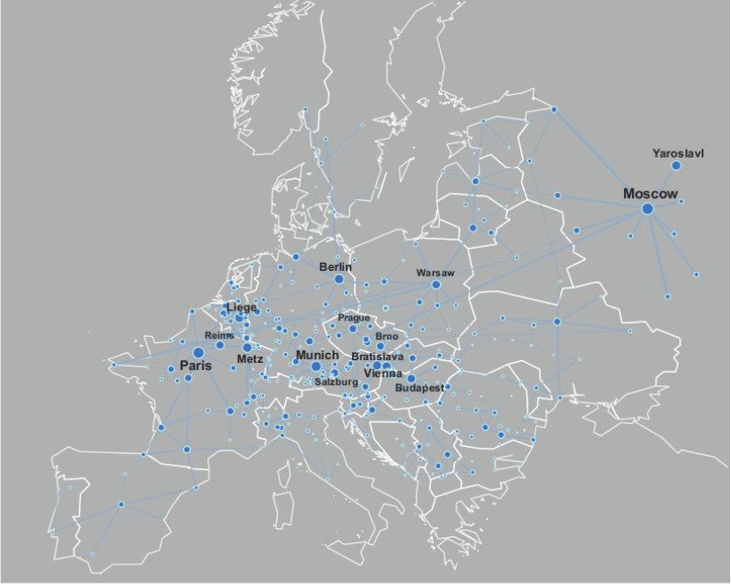 """<p class=""""Body"""">Netzwerk europäischer Straßen, dessen Knoten Städte darstellen und dessen Kanten die Straßen, welche verschiedene europäische Städte m"""