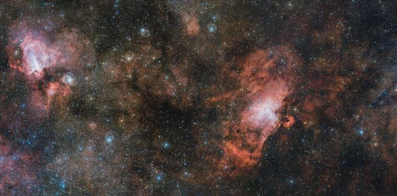 Kosmische Kreißsäle: Sterne und Planeten werden in Wolken aus Gas und Staub geboren. Das Bild zeigt gleich drei solcher Gebiete, den Omega- und den Ad