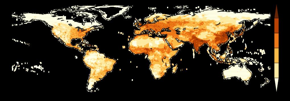 Jährlich verlieren etwa 4,5 Millionen Menschen ihr Leben durch verschmutzte Außenluft. Die Grafik zeigt die Sterberate pro 1.000 Quadratkilometer und