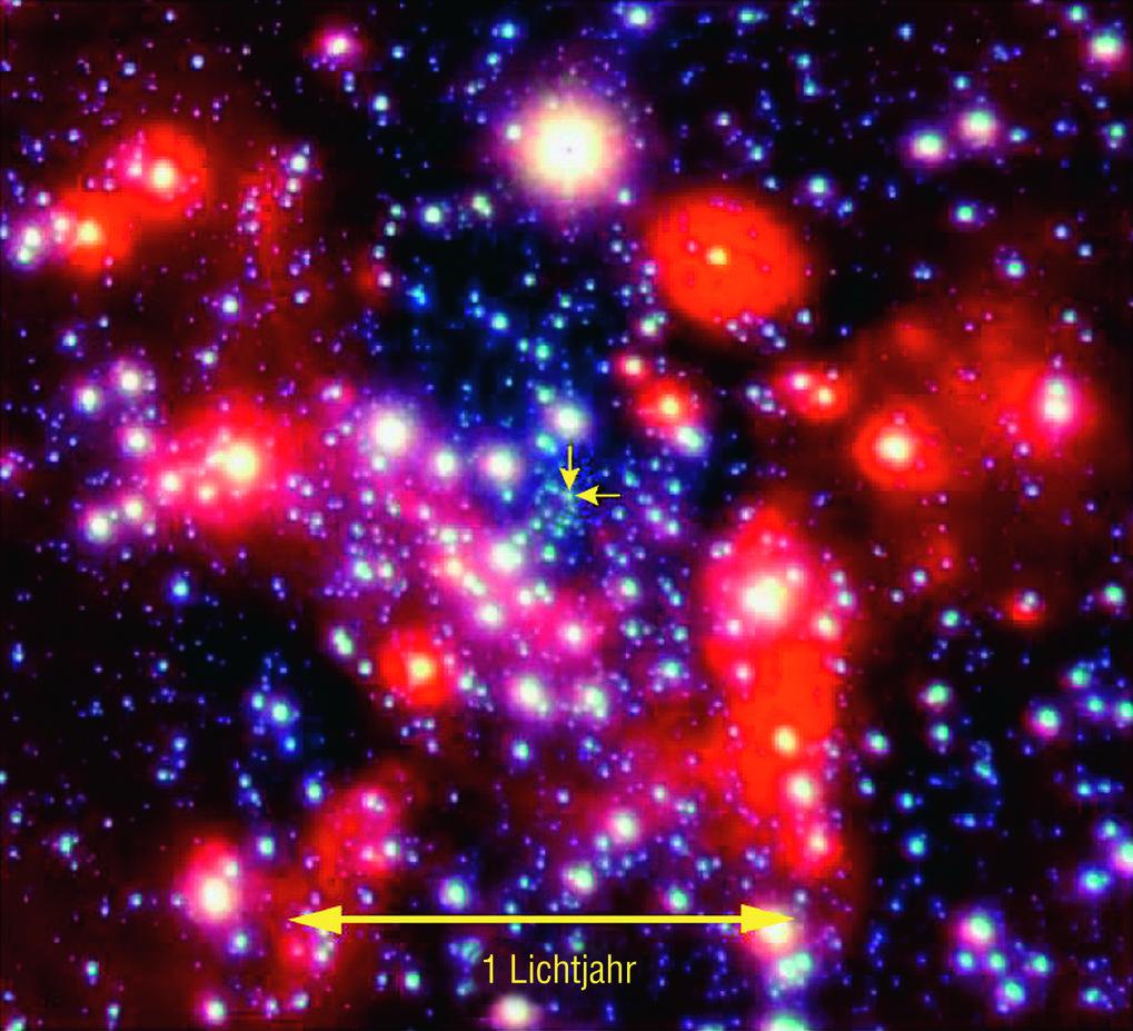 Das Herz der Milchstraße: Das Bild, aufgenommen mit einem der vier Fernrohre des Very Large Telescope, ist ein Zoom ins galaktische Zentrum. In dieser