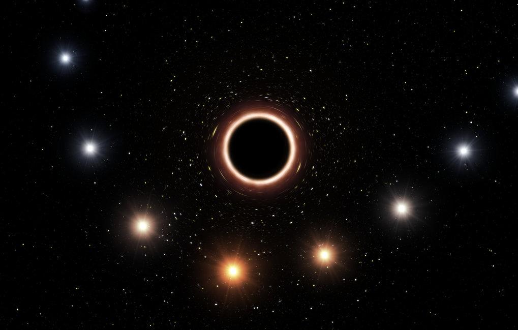 Farbwechsel: Diese Illustration zeigt den Stern S2 beim Vorübergang am schwarzen Loch im galaktischen Zentrum. Deutlich zu sehen ist die durch das ext