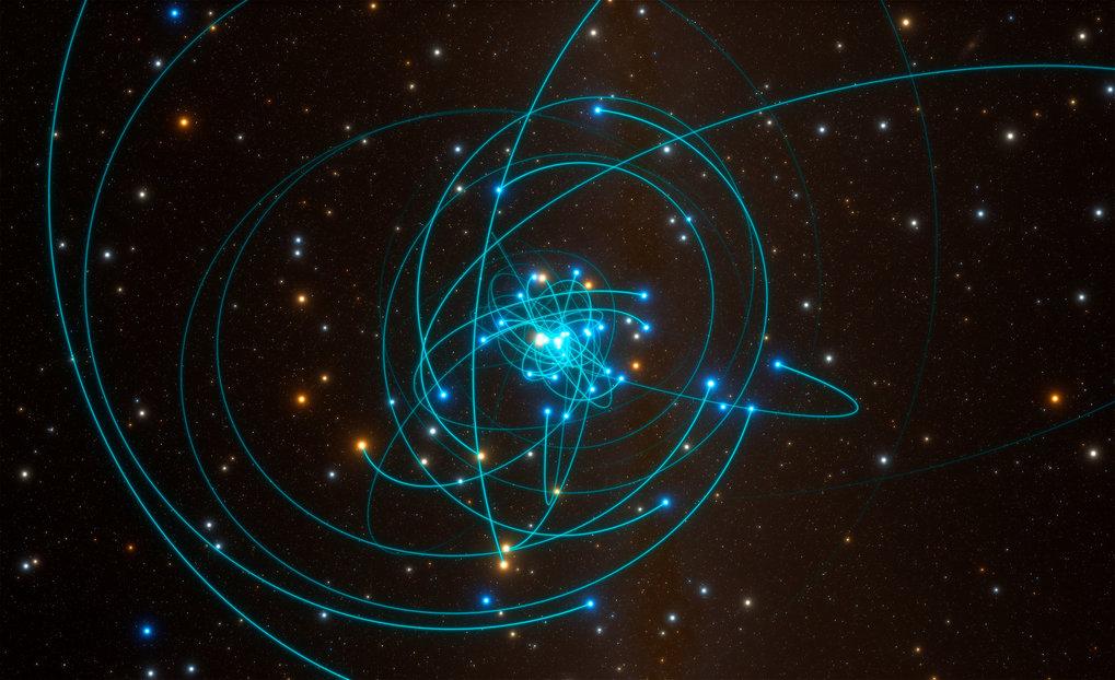 <p>Kosmischer Bienenschwarm: Die Simulation zeigt die Sternenbahnen nahe dem supermassereichen schwarzen Loch im Herzen der Milchstraße.</p>