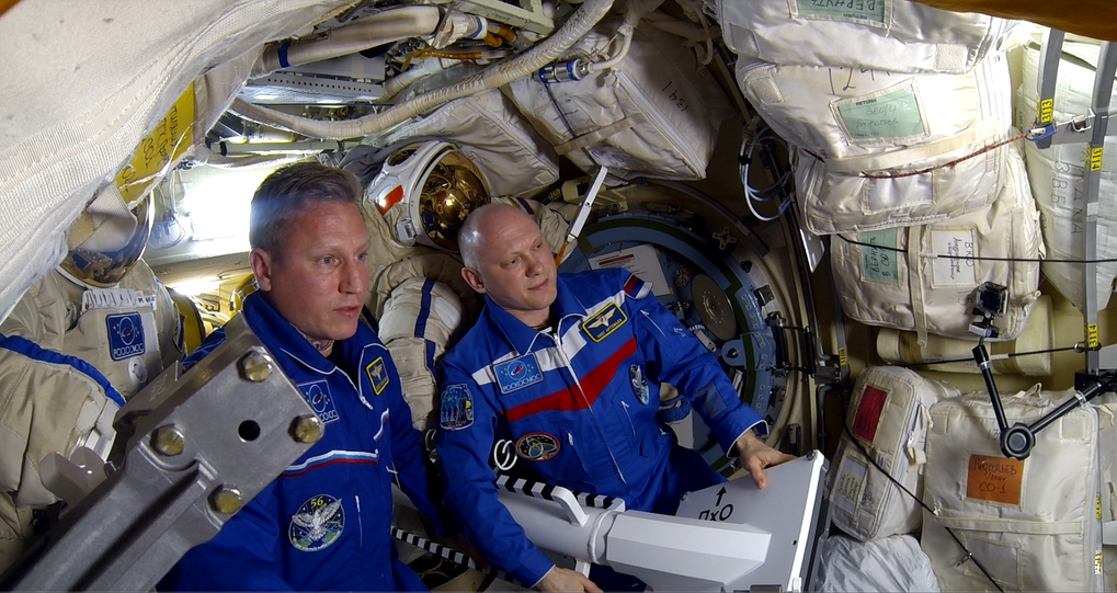 Cosmonauts Sergey Prokopiev (left) and Artemyev Germanovich (right) on board the International Space Station.