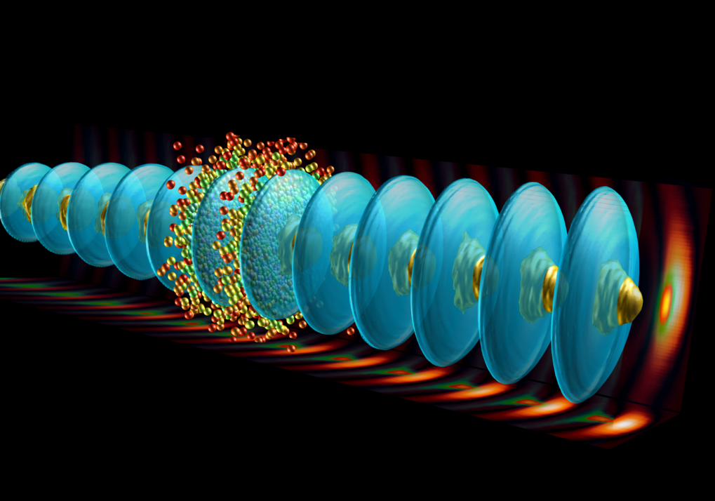 Surfen im Teilchenbeschleuniger: Im AWAKE-Experiment bilden Protonen (kegelförmige Strukturen) eine Plasmawelle (ovale Strukturen), die Elektronen (kl
