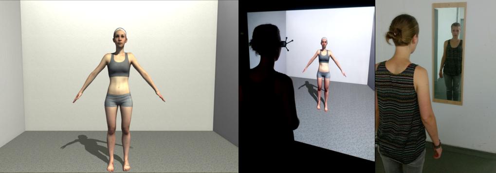 Die von der Teilnehmerin betrachtete virtuelle Szene (links); Mitte: Die Teilnehmerin betrachtet den personalisierten Avatar auf einem großformatigen,