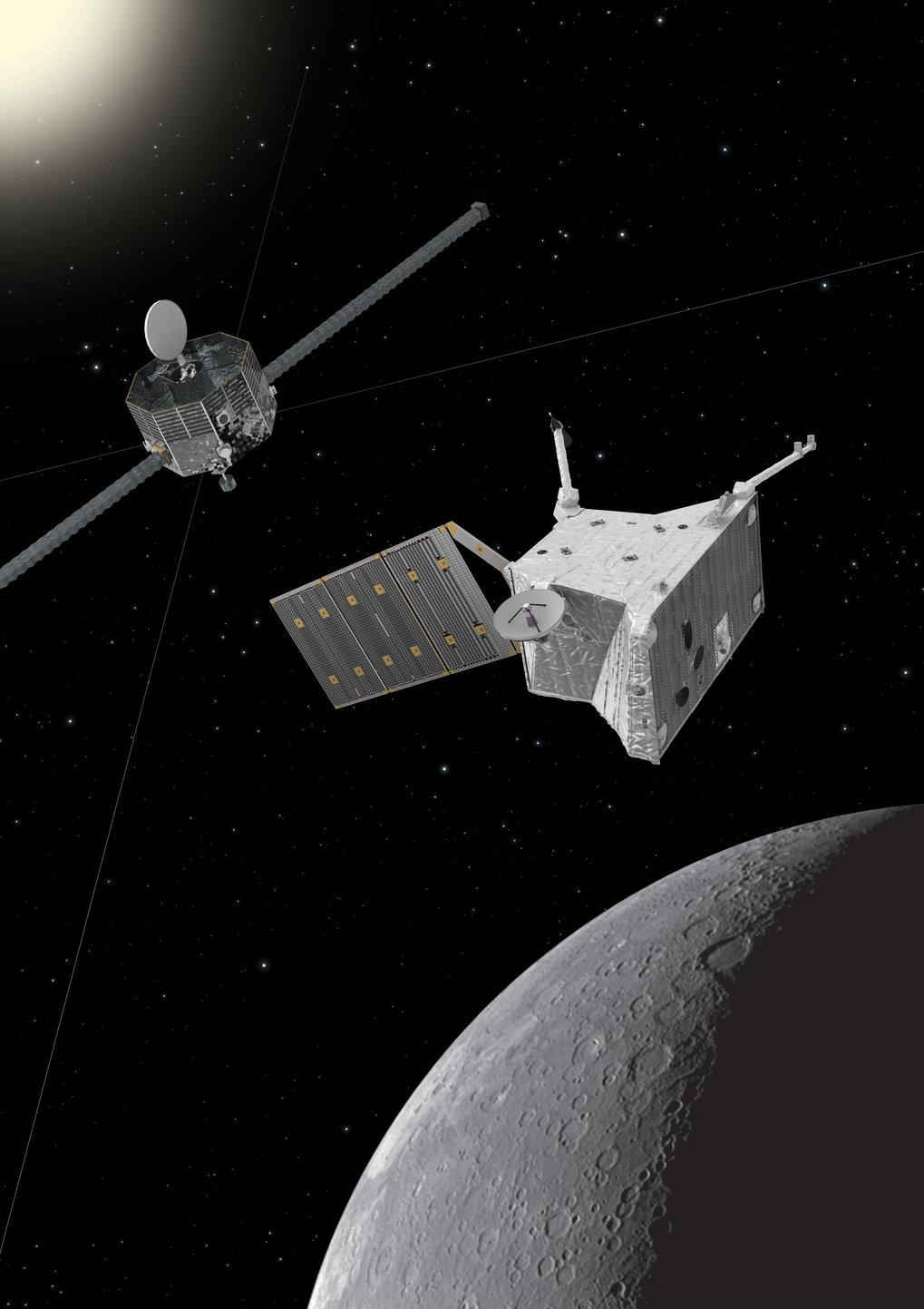 Die Schwestersonden MPO (Mercury Planetary Orbiter) und MMO (Mercury Magnetospheric Orbiter) umrunden den Merkur auf unterschiedlichen Ellipsen: MPO n