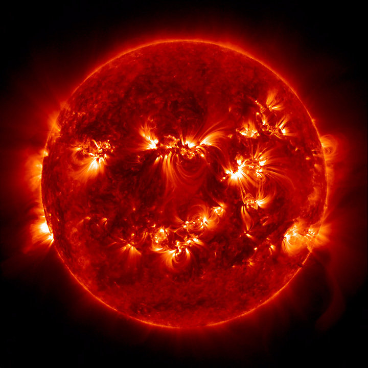 The Sun as seen by NASA's Solar Dynamics Observatory from space.