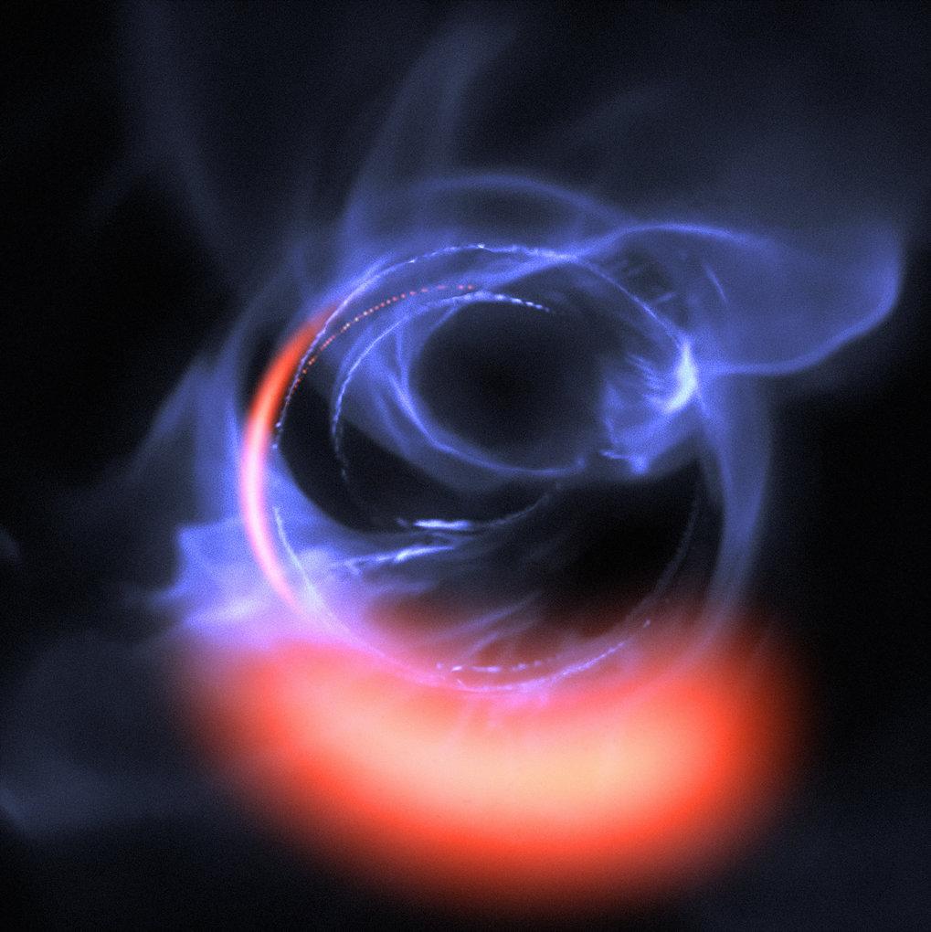 <p>Turbulente Schwerkraftfalle: Diese Visualisierung basiert auf Simulationen der Bahnbewegung von Gas, das mit etwa 30 Prozent der Lichtgeschwindigke