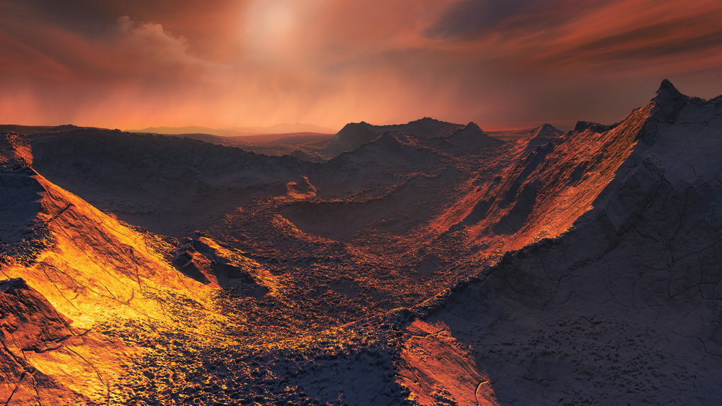 """Artist's impression of the surface on the planet """"Barnard's Star b""""."""