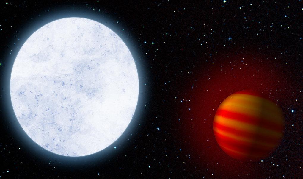 Künstlerische Darstellung des heißen Sterns KELT-9 und seines Planeten KELT-9b, einem heißen Jupiter. Forscher haben jetzt die ausgedehnte Wasserstoff