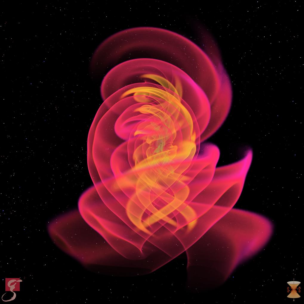Der Raum bebt: Diese numerisch-relativistische Simulation gibt die erste beobachtete Verschmelzung zweier schwarzer Löcher wider, welche die Advanced