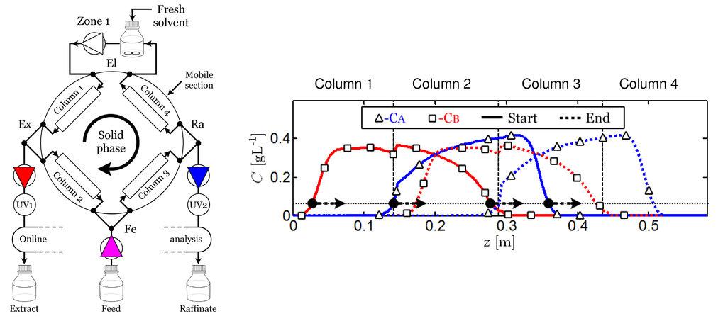 Abb. 1: SMB-Prozess zur Trennung eines binären Stoffsystems. Links: Prozesskonfiguration, rechts: Konzentrationsverläufe im Innern. Durchgezogene Li- n