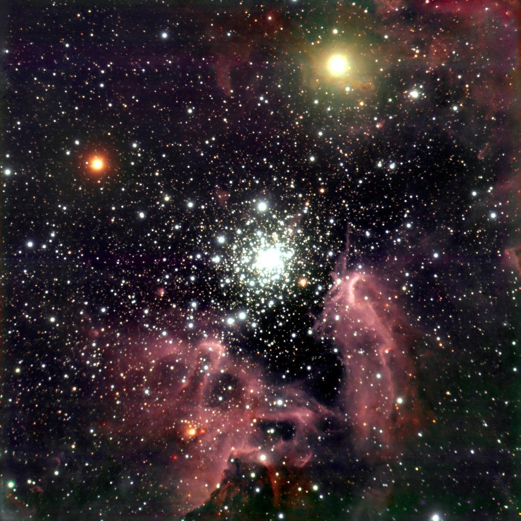 Bild des massereichen Sternhaufens NGC 3603, aufgenommen mit dem Very Large Telescope. Er hat sich wahrscheinlich in derselben Weise entwickelt wie de
