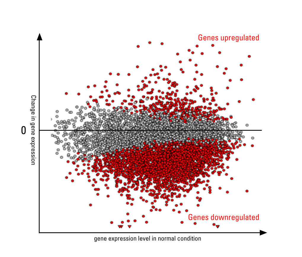 Changes in gene transcription upon heat shock in human cells. Red dots are genes that significantly change their expression. Above 0: Genes with incre
