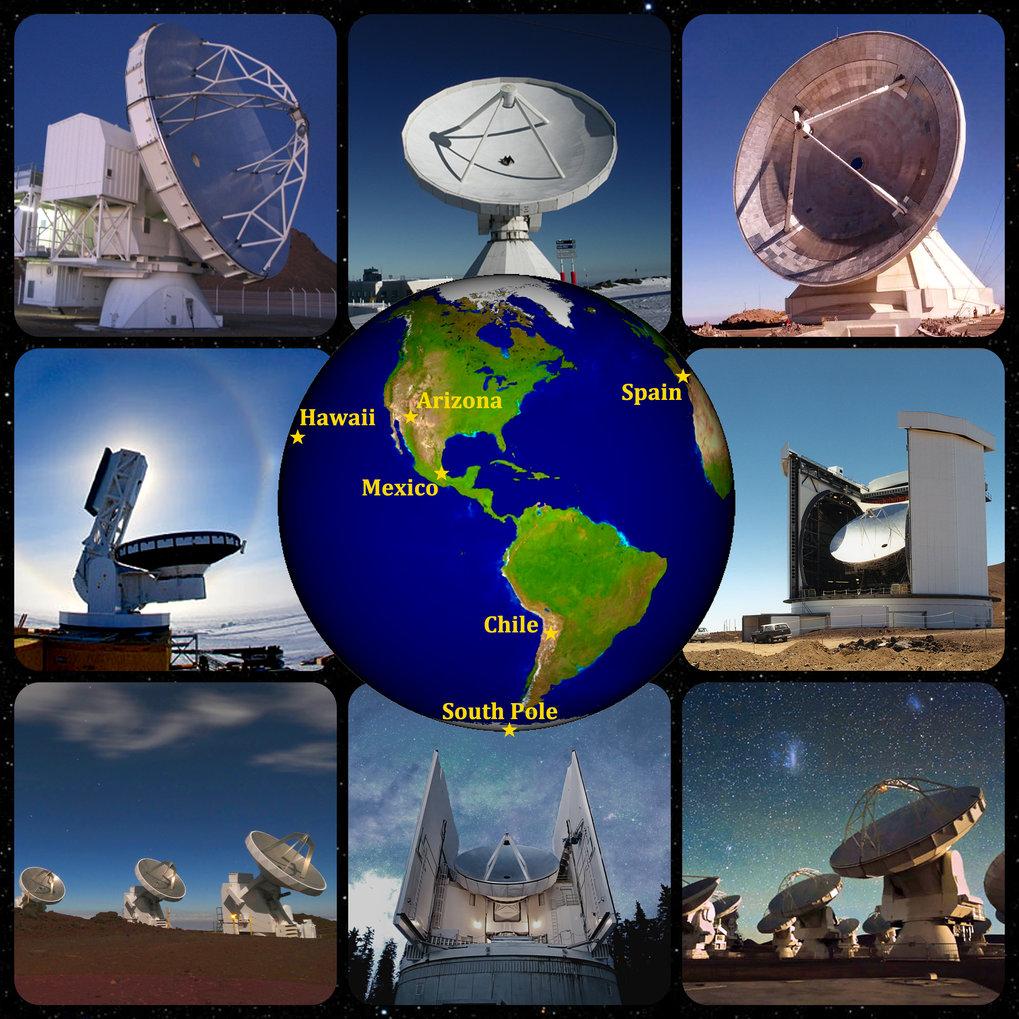 Weltweites Netz: Acht Radioteleskope an sechs Standorten waren an den Messungen im Rahmen des Event Horizon Telescope beteiligt.