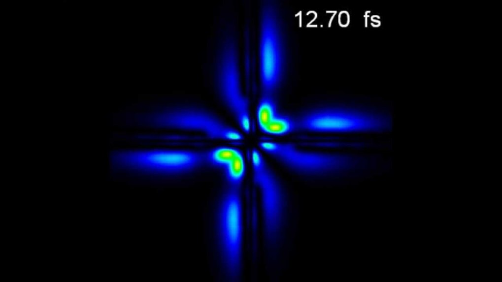 Physicists at the Max Planck Institute for Nuclear Physics in Heidelberg have filmed the pulsing motion of the electron pair in a helium atom. At 15.3 femtoseconds (fs) the two electrons are close to the nucleus (centre of image) and then move away from it. The colour indicates the probability of finding one electron at position A (vertical axis) and the second electron at position B (horizontal axis) on a line drawn through the atom (along the polarisation direction of the laser). At 16.3 femtoseconds they arrive back at their original position again; they thus move with a beat of around one femtosecond.