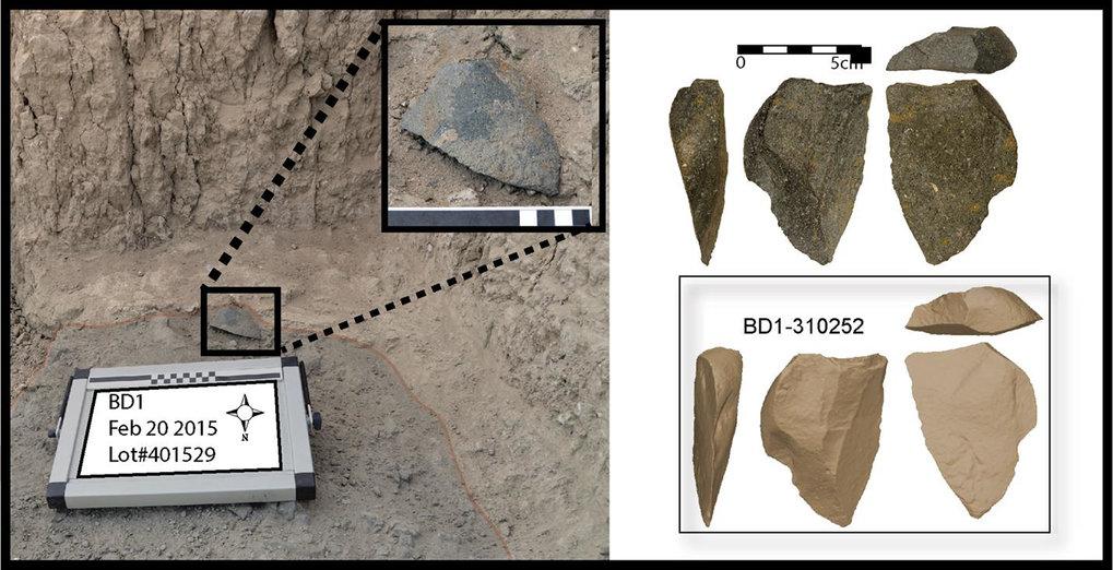 Eines der größeren Steinartefakte von Bokol Dora in Fundlage. Rechts: Foto und dreidimensionales Modell des gleichen Artefakts.