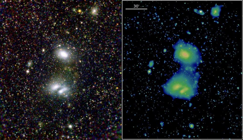 Ferne Nebel: Diese beiden eRosita-Bilder zeigen die wechselwirkenden Galaxienhaufen A3391 und A3395 und demonstrieren die hervorragende Sicht des Tele