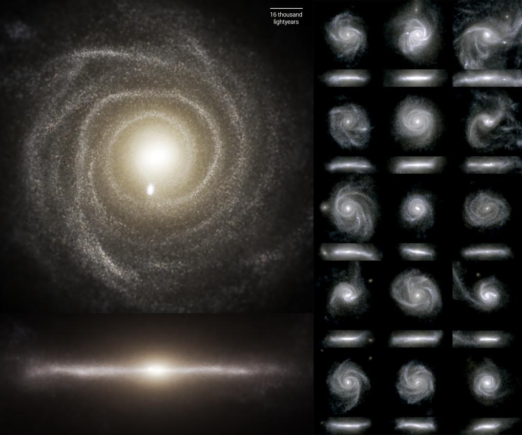 Simulierte Milchstraßen: Bilder von Scheibengalaxien aus der TNG50-Simulation im sichtbaren Licht. Jede Galaxie ist einmal in Draufsicht und einmal vo